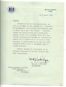 1969 - Lettre Ambassade de Grande Bretagne